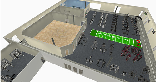 Basketball Court Gym Rendering