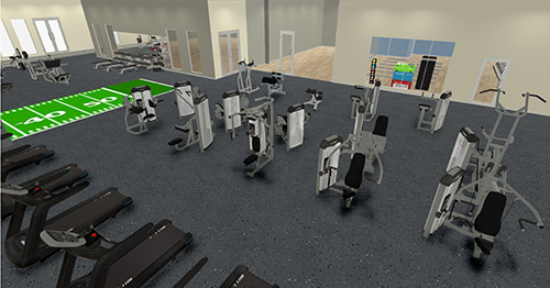 Cardio and Weight Machines Gym Rendering