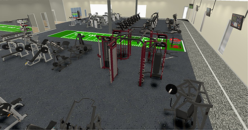 Free Weight Space Gym Rendering